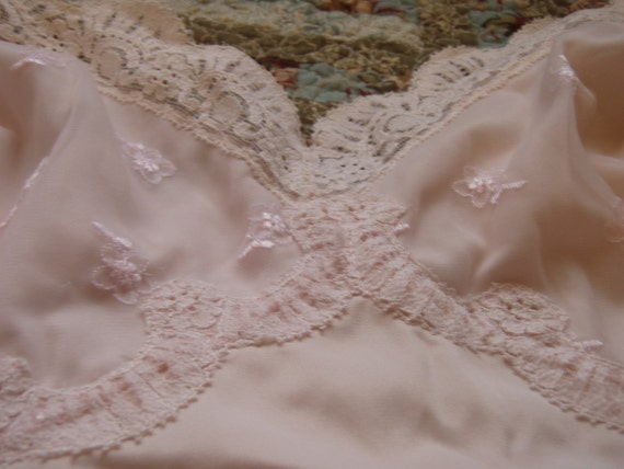 Vintage 2 slips sears and milco new york lace trim pink and beige lingerie