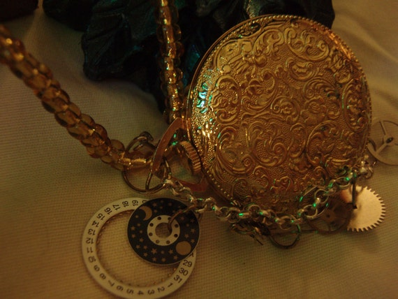 Handmade Vintage Pocket watch steam punk design clockwork angel infernal devices
