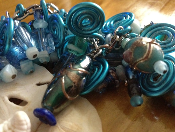 SALE PRICE Neon Blue Glass beach beads detailed a handcrafted chunk bracelet summer ocean
