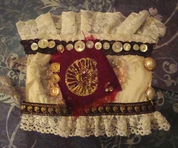 Wrist cuff, Embroidered, Embossed, Ammonite, ON SALE