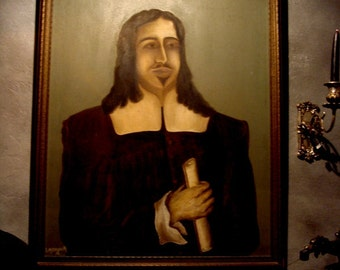 ANTIQUE OIL PAINTING Old Portrait on Canvas Signed looks like Vlad the Impaler at Gothic Rose Antiques