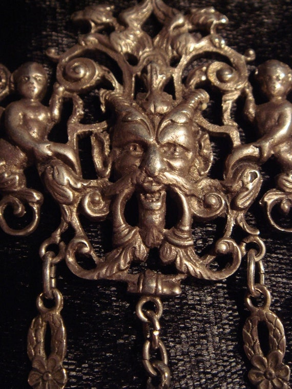 HORNED DEVIL BACCHUS Satyr Rare Gothic Antique European 800 Silver Coppini Necklace, Devils, Harpies, Cherubs, Ball and Claw