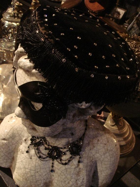 Antique BLACK VELVET FRINGE Hat with Rhinestones