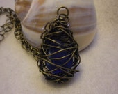 SALE   Blue Seaglass Wrapped in Copper Wire Necklace