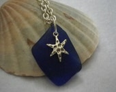Natural Dark Blue Seaglass Necklace