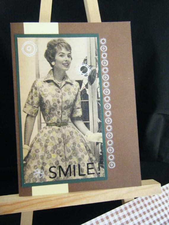 SALE, Vintage Photo Birthday Card, Smile, Hand Tinted with Hand Made Envelope, 5x7, FREE SHIPPING