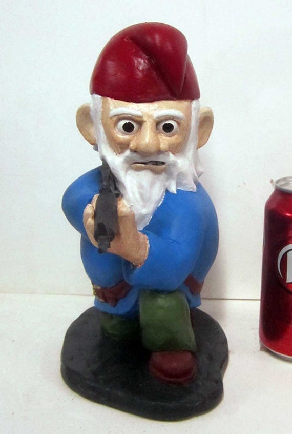 Combat Garden Gnome In Kneeling Position With M 16