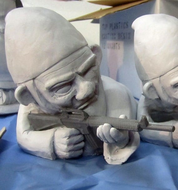 Unpainted Combat Garden Gnome In Prone Position With M 16