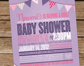 Baby Shower Invitation - Girl - Pennant Party (Pink & Purple) DIY Digital Printable. (typography, poster style)