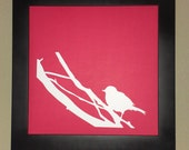 "Little Bird Has Left The Nest, Original Papercut Wall Art 12""X12"" Square, Perfect Graduation Gift or Baby Shower"
