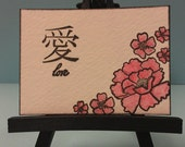 Love Japanese Kanji with Cherry Blossoms ACEO Original Watercolor and Ink Collectible Perfect For Engagement, Wedding, Anniversary, Love
