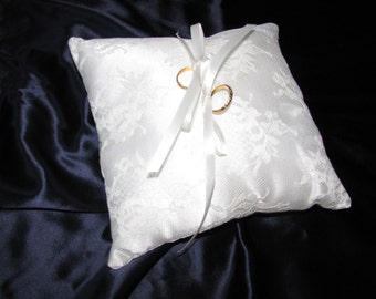 Ringbearer pillow, Lace over satin, custom made, with optional elastic hand strap