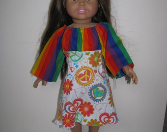 American Girl Doll  Hippy dress PEACE