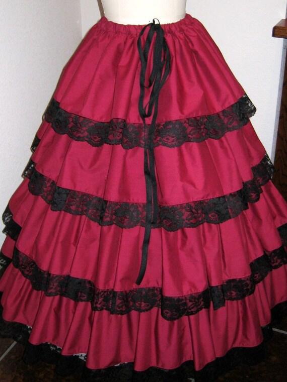 Holiday festive Victorian Steam Punk Burgundy Skirt