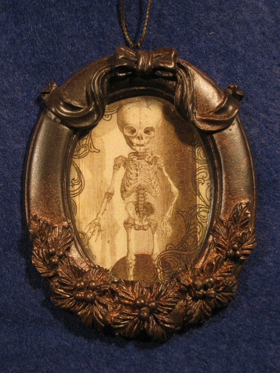 Spooky X-mas ornament or gift. steam punk, goth, vampire skeleton child