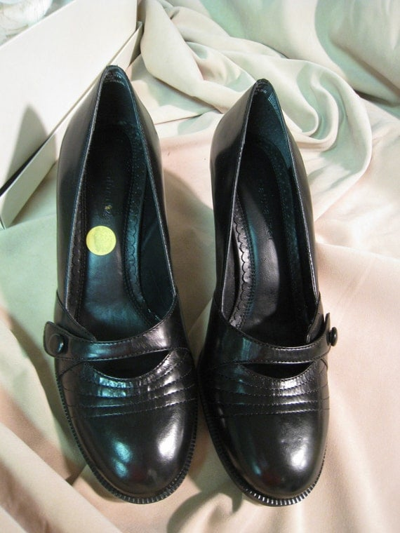 Black Leather Vintage Costume Shoes never worn