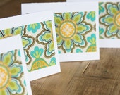 Blank Note Cards - Green, Blue, Yellow Floral Fabric - Set of 4 Hand Cut cards