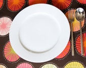 Fabric Placemats - Brown with Color Bursts - Set of 4
