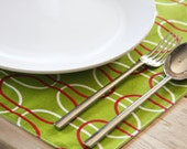 Christmas Placemats - Holiday Green with White and Red Ovals - Set of 4