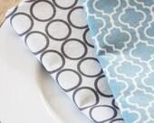Napkins - Grey Circles with Blue design - Set of 4 reversible