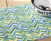 Pet Food Mat - Blue, Green and Yellow Chevron in Small Size