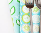 Cloth Napkins - Light Aqua Floral with Circles - Set of 4 Reversible Cloth