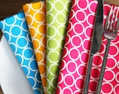 Napkins - 4 fun colors with White Circles - Set of 4 Reversible Cloth - 4 different colors
