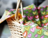 Fabric Liner - READY TO GO - Green with Colored Hearts With Orange - Reversible