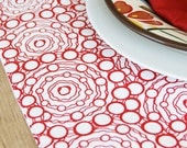 Fabric Placemats  - Red Squiggles - Set of 4