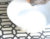Pet Food Mat - FREE US SHIPPING - Black and White Hexagon in Small Size