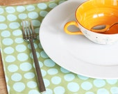 Cloth Placemats - Green with Turquoise Dots - Set of 4