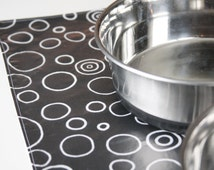 Dog Placemat - Black with White Circles: Large Size