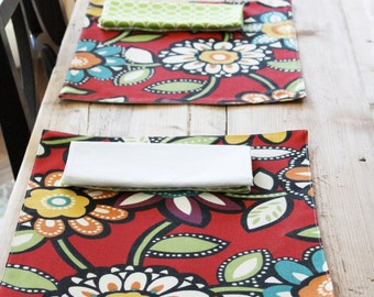 Cloth Placemats - Red Big Floral - Set of 4