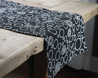 Fabric Table Runner - Long Black with White Circles