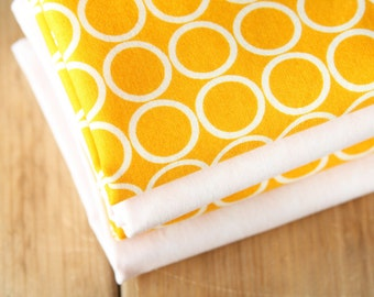 Fabric Napkins - AS SEEN IN Parenting magazine (April 2012) Yellow with White Circles - Set of 4 Reversible Cloth