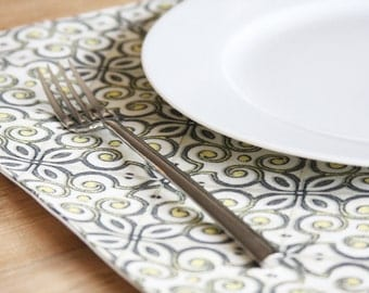 Fabric Placemats - Grey with Yellow Design - Set of 4