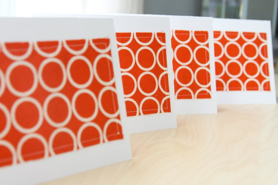 Note Cards - Orange with White Circles Fabric - Set of 4 (Blank)