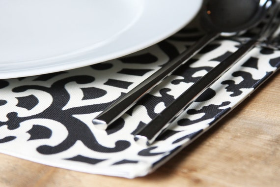 Placemats - Black and White Garden Party- Set of 4