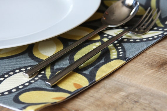 Placemats - Yellow Big Floral - Set of 4 - FREE SHIPPING
