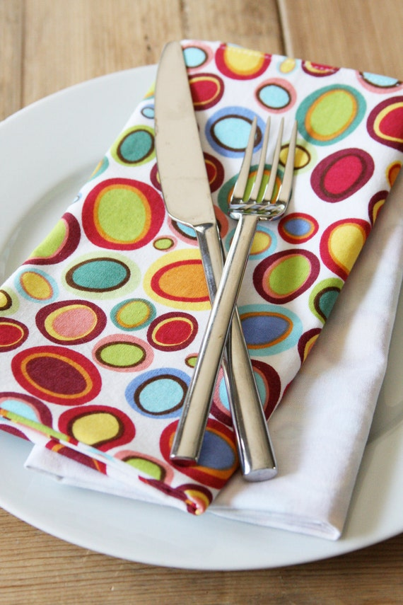 Napkins - Multi Colored Mod Circles - Set of 4 Reversible Cloth - LAST 2 SETS in this style available