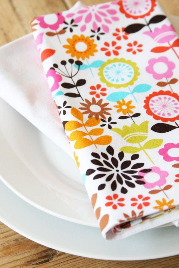 Napkins - Multi Colored Mod Flowers - Set of 2 Reversible Cloth - FREE SHIPPING