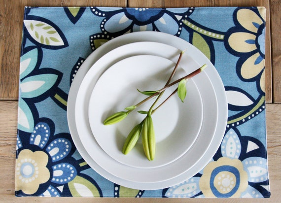 blue floral placemats - Blue Big Floral - From Navy to Baby - Set of 4