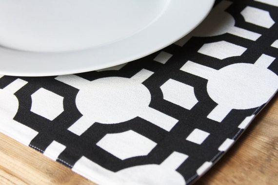 Placemats - White with Black Lines - Set of 2 Placemats