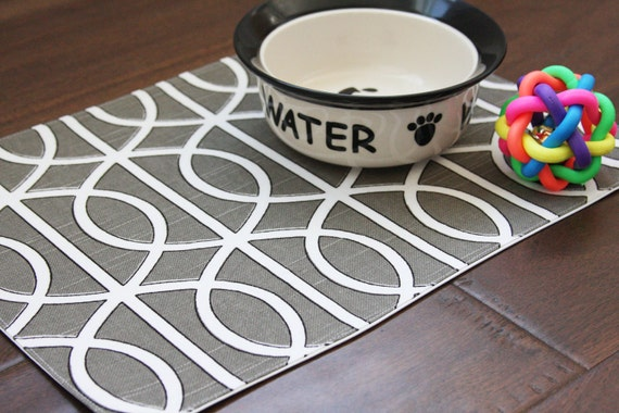 Pet-Mat (Placemat for your Dog or Cat's Bowl) Grey Squiggles: Small Size