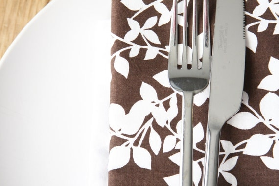 Cloth Napkins - Brown with White Leaves - Set of 4 Reversible Cloth - LAST SET AVAILABLE in this style