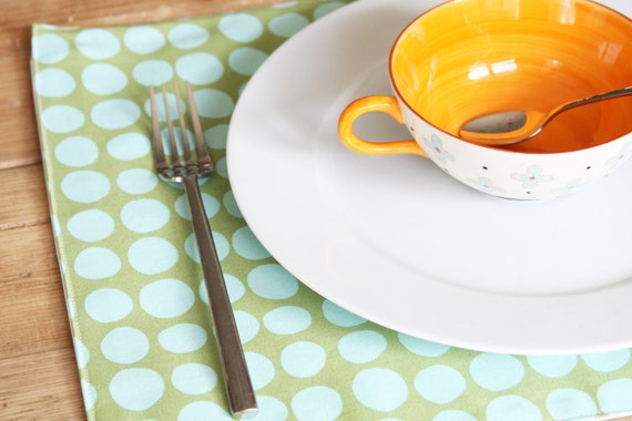Reserved for Brooke - Cloth Placemats - Green with Turquoise Dots - Set of 8