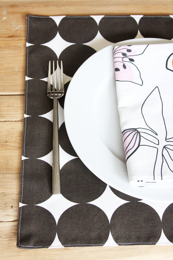 Reserved for eryn - Square Placemats - Brown Dots - Set of 4 - Last set in this style