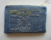 Embroidered Diana Camera Zipper Pouch