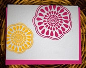 ON SALE - Eco-Friendly Letterpress Card - Modern Pink and Yellow Flower Design - Set of 6