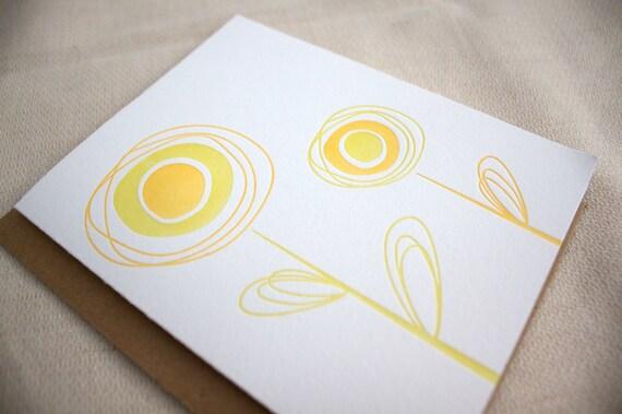ON SALE - Letterpress Spring Card - Orange and Chartreuse - Set of 6